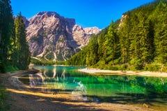 Braies or Prags lake and Dolomites mountains. Trentino Alto Adig royalty free stock photo