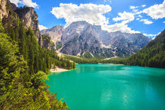 Braies See in Italien Stockbild