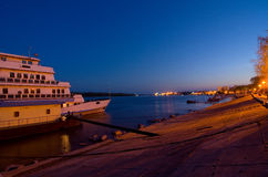 Braila en de 's nachts Donau Royalty-vrije Stock Afbeeldingen