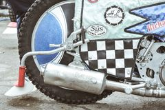 Detail of speedway motocycle. BRAILA, ROMANIA - May 31: Detail of tires in the National Championship of Dirt Track on May 11, 2011 on Braila, Romania royalty free stock images