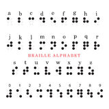 Braille alphabet and numbers Stock Image