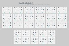 Braille four. International Braille alphabet poster with latin letters, numbers, and punctuation marks  on gray background. vector tactile aid symbols Royalty Free Stock Photo