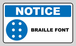 Braille icon, simple style. Blue mandatory symbol for public places. Mandatory, informational banner. Vector Stock Photos
