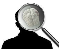 Brain. Illustration of part of a body, of a brain, on a silhouette of the man Stock Image