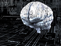 Brain. Artificial Intelligence concept. Brain over the mainboard or electronic circuits Stock Photo