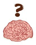 Brain. Illustration of a brain with a question markt Stock Photography