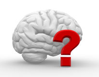 Brain. 3d brain and a question mark. Questions. 3d render Stock Image