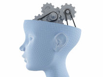 Brain activities. Computer graphics generated - female face profile with gear brain activities Royalty Free Stock Images