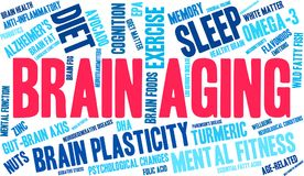 Brain Aging Word Cloud Image stock