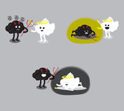 Brain angel and brain devil fighting set. Brain cartoon characters vector illustration image set showing angel and devil fighting together that has different Royalty Free Stock Photo