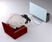 Brain on armchair with arms, legs and game controller stock illustration