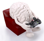 Brain on armchair with arms, legs and game controller vector illustration