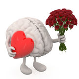 Brain with arms, leg, bunch of roses and red heart on hands Royalty Free Stock Photos