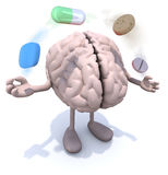 Brain with arms and legs and big pills in the air. Human brain with arms and legs and big pills in the air, 3d illustration Royalty Free Stock Photos