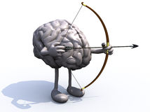 Brain with arms, legs, bow and arrow Royalty Free Stock Images