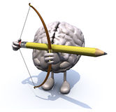 Brain with arms, legs, bow and arrow instead of a pencil Stock Images