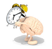 Brain with arms, legs that brings alarm clock Stock Photos