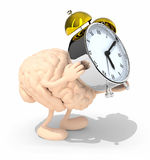 Brain with arms, legs that brings alarm clock Royalty Free Stock Images