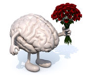 Brain with arms, legs and bunch of roses on hand Royalty Free Stock Image