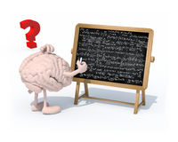 Brain with arms, legs and chalk on hand in front of blackboard Stock Photo