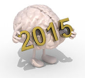 Brain with arms, legs and the 3D inscription 2015 Royalty Free Stock Image