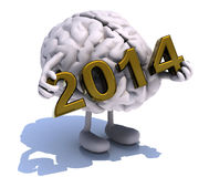 Brain with arms, legs and the inscription 2014 Royalty Free Stock Image