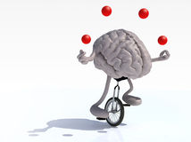 Brain with arms and legs juggle rides a unicycle Stock Images