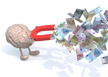 Brain with arms, legs and magnet on hands, catch many euro bankn Royalty Free Stock Images