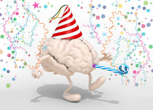 Brain with arms, legs, party cap and blowers Stock Photography