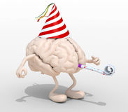 Brain with arms, legs, party cap and blowers Royalty Free Stock Image
