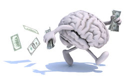 Brain with arms and legs run away with money. Human brain with arms and legs run away with dollar notes on hands, 3d illustration Stock Photo