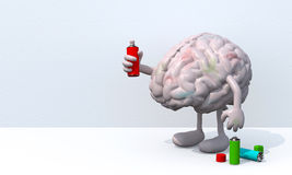 Brain with arms, legs and spray can in hand Royalty Free Stock Image