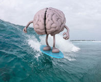 Brain with arms and legs surfing. Human brain with arms and legs surfing on the sea, 3d illustration Royalty Free Stock Photo