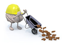 Brain with arms, legs and workhelmet carries a wheelbarrow lette Royalty Free Stock Photo