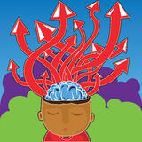 Brain and arrows illustration Royalty Free Stock Images