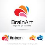 Brain Art Logo Template Design Vector Stock Photo