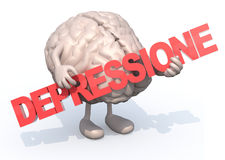 Brain with arts that embraces a word Royalty Free Stock Images