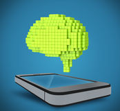 The brain as a 3D pixel, located over the phone Royalty Free Stock Photos