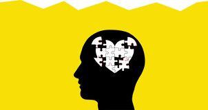 Brain as Heart Puzzle Pieces In Head stock photos