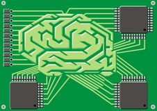 Brain as motherboard Stock Photo