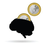 Brain as a piggy bank vector illustration Royalty Free Stock Images