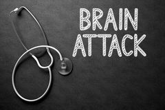 Brain Attack on Chalkboard. 3D Illustration. Stock Images