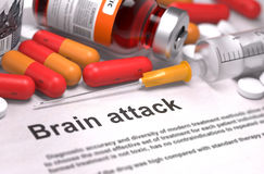 Brain Attack Diagnosis. Medical Concept. Brain Attack - Printed Diagnosis with Blurred Text. On Background of Medicaments Composition - Red Pills, Injections and Royalty Free Stock Photography