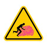 Brain Attention. Caution brains. Man sex on gyrus. yellow road sign attentiveness.  vector illustration