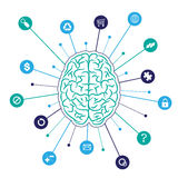 Brain background with icons Royalty Free Stock Images