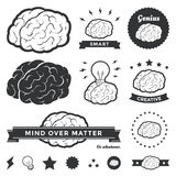 Brain Badges and Label Collection Stock Photo