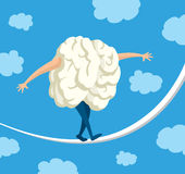 Brain in balance walking on a string Royalty Free Stock Images