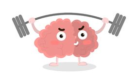 Brain with barbell. Stock Photo