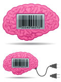 Brain with barcode screen and connector plug Stock Photos