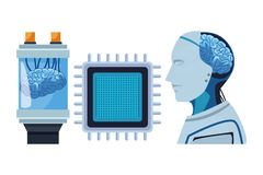 Brain into a battery. With microchip and robot with brain exposed cartoon icon vector illustration graphic design royalty free illustration